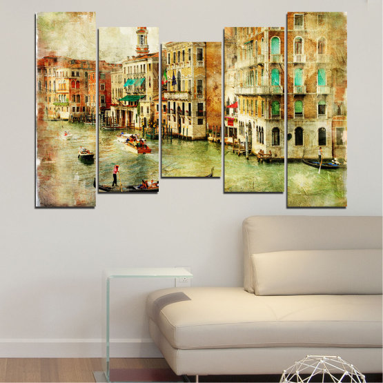 Canvas prints & wall decorative panels - 5 pieces №0782 » Green, Yellow, Orange, Brown, Gray, Beige » City, Venice, River, Architecture, Boat, Street, Houses Form #4