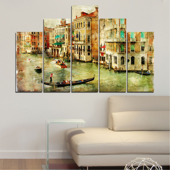 Canvas prints & wall decorative panels - 5 pieces №0782 » Green, Yellow, Orange, Brown, Gray, Beige » City, Venice, River, Architecture, Boat, Street, Houses Form #5