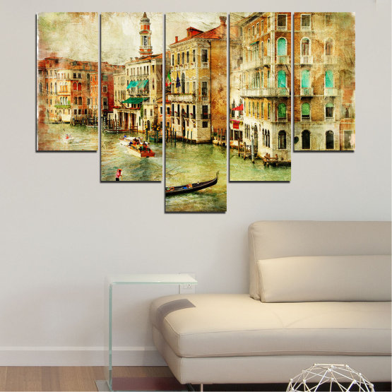 Canvas prints & wall decorative panels - 5 pieces №0782 » Green, Yellow, Orange, Brown, Gray, Beige » City, Venice, River, Architecture, Boat, Street, Houses Form #6