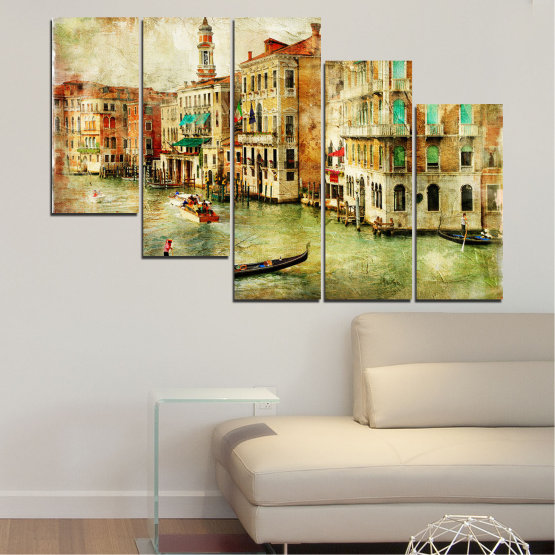 Canvas prints & wall decorative panels - 5 pieces №0782 » Green, Yellow, Orange, Brown, Gray, Beige » City, Venice, River, Architecture, Boat, Street, Houses Form #7