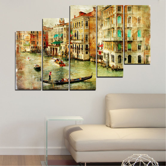 Canvas prints & wall decorative panels - 5 pieces №0782 » Green, Yellow, Orange, Brown, Gray, Beige » City, Venice, River, Architecture, Boat, Street, Houses Form #8