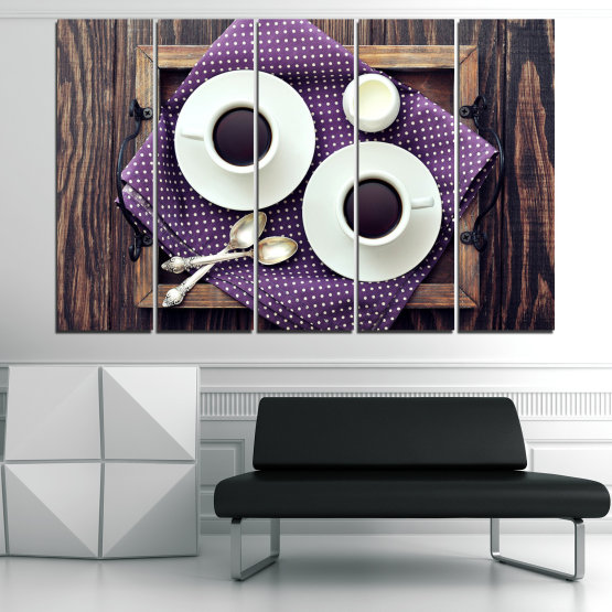 Canvas prints & wall decorative panels - 5 pieces №0783 » Purple, Brown, Black, Gray, White, Dark grey » Coffee, Drink, Cup, Table, Saucer Form #2