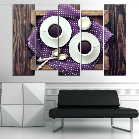 Canvas prints & wall decorative panels - 5 pieces №0783 » Purple, Brown, Black, Gray, White, Dark grey » Coffee, Drink, Cup, Table, Saucer Form #3