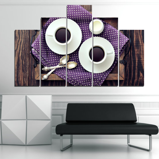 Canvas prints & wall decorative panels - 5 pieces №0783 » Purple, Brown, Black, Gray, White, Dark grey » Coffee, Drink, Cup, Table, Saucer Form #5