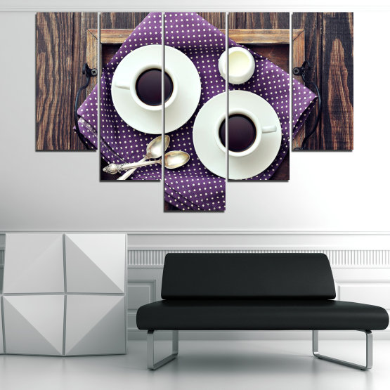 Canvas prints & wall decorative panels - 5 pieces №0783 » Purple, Brown, Black, Gray, White, Dark grey » Coffee, Drink, Cup, Table, Saucer Form #6