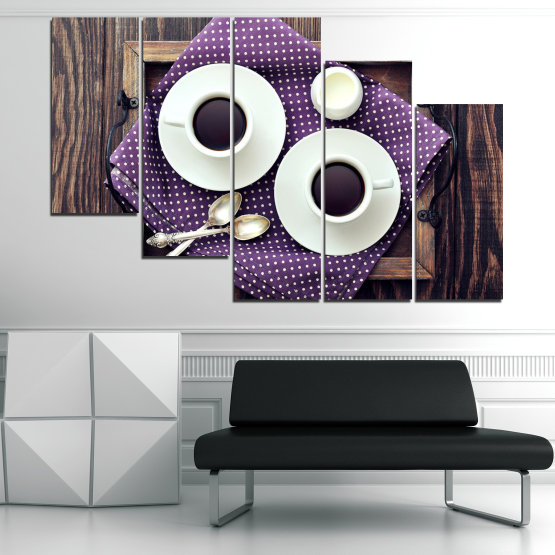 Canvas prints & wall decorative panels - 5 pieces №0783 » Purple, Brown, Black, Gray, White, Dark grey » Coffee, Drink, Cup, Table, Saucer Form #7
