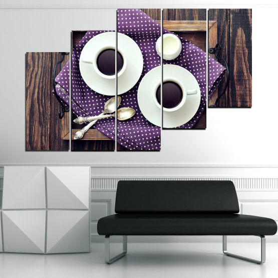 Canvas prints & wall decorative panels - 5 pieces №0783 » Purple, Brown, Black, Gray, White, Dark grey » Coffee, Drink, Cup, Table, Saucer Form #8