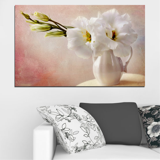 Canvas prints & wall decorative panels - 1 piece №0784 » Orange, Brown, Gray, Beige, Milky pink » Flower, Spring, Decoration, Bouquet, Blossom, Vase, Petals Form #1