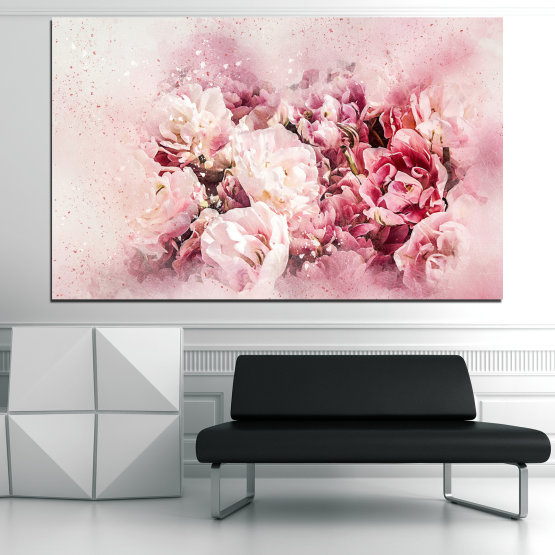 Canvas prints & wall decorative panels - 1 piece №0785 » Gray, White, Beige, Milky pink » Flowers, Spring, Bloom, Vintage Form #1