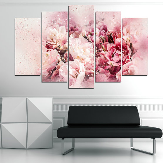 Canvas prints & wall decorative panels - 5 pieces №0785 » Gray, White, Beige, Milky pink » Flowers, Spring, Bloom, Vintage Form #1