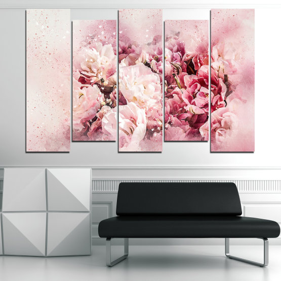 Canvas prints & wall decorative panels - 5 pieces №0785 » Gray, White, Beige, Milky pink » Flowers, Spring, Bloom, Vintage Form #3