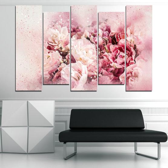 Декоративни панели и картини от канава - от 5 части №0785 » Сив, Бял, Бежов, Млечно розов » Цветя, Пролет, ,  Form #3