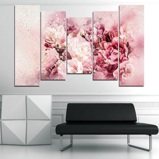 Canvas prints & wall decorative panels - 5 pieces №0785 » Gray, White, Beige, Milky pink » Flowers, Spring, Bloom, Vintage Form #4