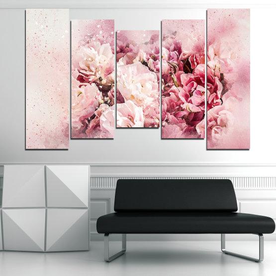 Декоративни панели и картини от канава - от 5 части №0785 » Сив, Бял, Бежов, Млечно розов » Цветя, Пролет, ,  Form #4