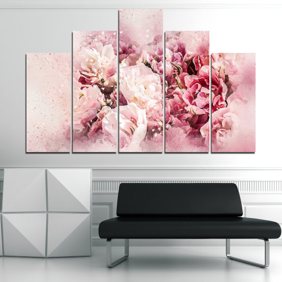 Canvas prints & wall decorative panels - 5 pieces №0785 » Gray, White, Beige, Milky pink » Flowers, Spring, Bloom, Vintage Form #5