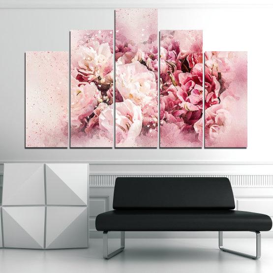 Εκτύπωση σε καμβά και διακοσμητικά πάνελ τοίχου - 5 τεμάχια №0785 » Γκρί, Άσπρο, Μπεζ, Γαλακτώδες ροζ » Λουλούδια, Άνοιξη, ,  Form #5