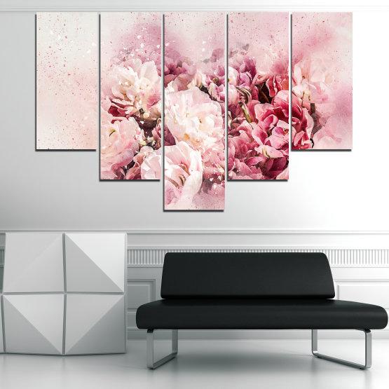 Декоративни панели и картини от канава - от 5 части №0785 » Сив, Бял, Бежов, Млечно розов » Цветя, Пролет, ,  Form #6