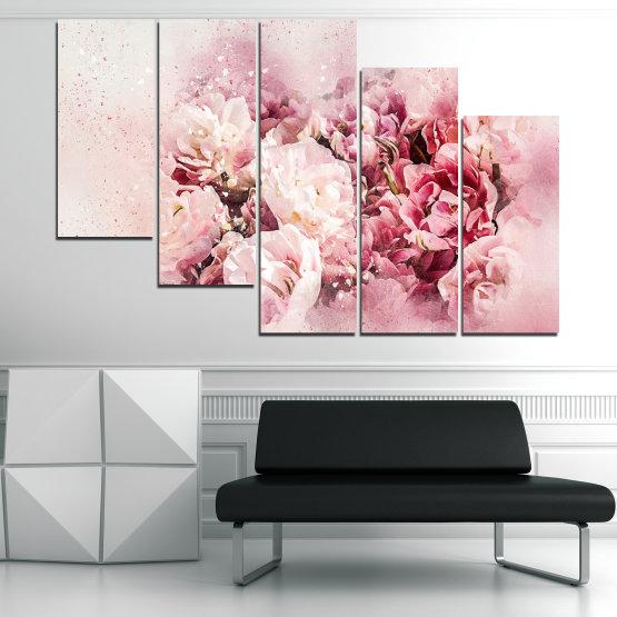 Декоративни панели и картини от канава - от 5 части №0785 » Сив, Бял, Бежов, Млечно розов » Цветя, Пролет, ,  Form #7