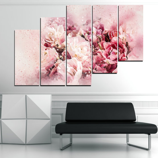Декоративни панели и картини от канава - от 5 части №0785 » Сив, Бял, Бежов, Млечно розов » Цветя, Пролет, ,  Form #8