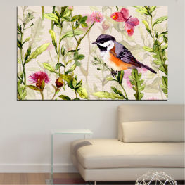 Flowers, Flower, Garden, Spring, Colorful, Bird » Green, Gray, White, Beige, Milky pink