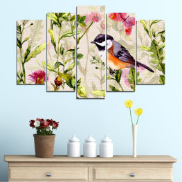 Flowers, Flower, Spring, Garden, Colorful, Bird » Green, Gray, White, Beige, Milky pink
