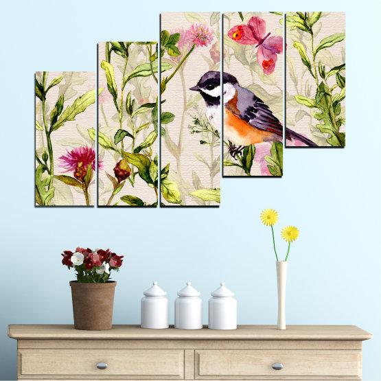 Декоративни панели и картини от канава - от 5 части №0786 » Зелен, Сив, Бял, Бежов, Млечно розов » Цветя, Цвете, Пролет, Градина, Цветен, Птица Form #8