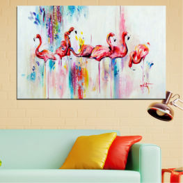 Abstraction, Drawing, Flamingo » Red, Blue, Yellow, Milky pink