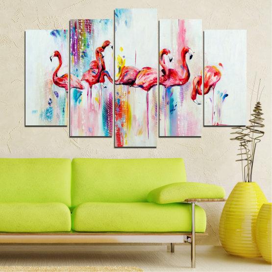 Декоративни панели и картини от канава - от 5 части №0787 » Червен, Син, Жълт, Млечно розов » Абстракция, Рисунка, Фламинго Form #1