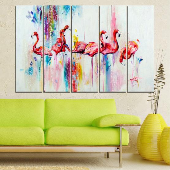 Декоративни панели и картини от канава - от 5 части №0787 » Червен, Син, Жълт, Млечно розов » Абстракция, Рисунка, Фламинго Form #2
