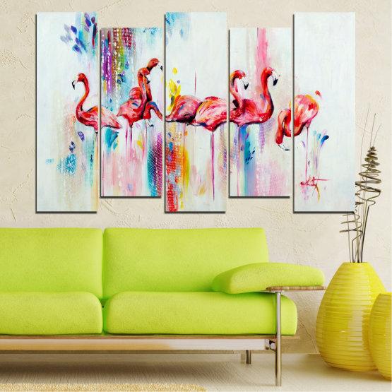 Декоративни панели и картини от канава - от 5 части №0787 » Червен, Син, Жълт, Млечно розов » Абстракция, Рисунка, Фламинго Form #3