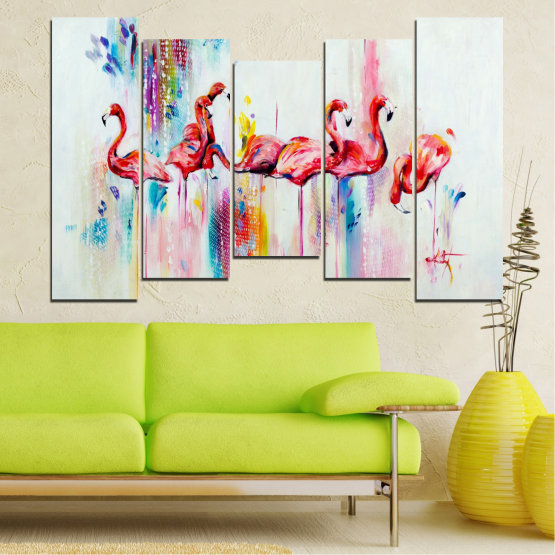 Декоративни панели и картини от канава - от 5 части №0787 » Червен, Син, Жълт, Млечно розов » Абстракция, Рисунка, Фламинго Form #4