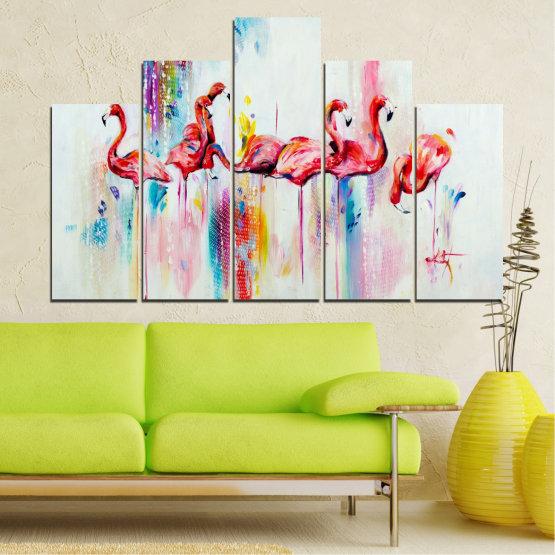 Декоративни панели и картини от канава - от 5 части №0787 » Червен, Син, Жълт, Млечно розов » Абстракция, Рисунка, Фламинго Form #5