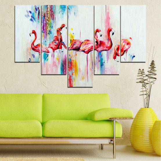 Декоративни панели и картини от канава - от 5 части №0787 » Червен, Син, Жълт, Млечно розов » Абстракция, Рисунка, Фламинго Form #6
