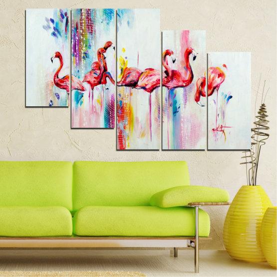 Εκτύπωση σε καμβά και διακοσμητικά πάνελ τοίχου - 5 τεμάχια №0787 » Κόκκινος, Μπλε, Κίτρινος, Γαλακτώδες ροζ » Αφαίρεση, Σχέδιο, Φοινικόπτερος Form #7