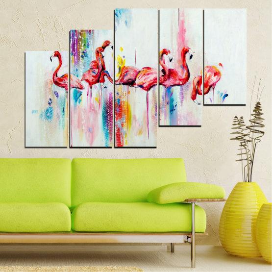 Декоративни панели и картини от канава - от 5 части №0787 » Червен, Син, Жълт, Млечно розов » Абстракция, Рисунка, Фламинго Form #8