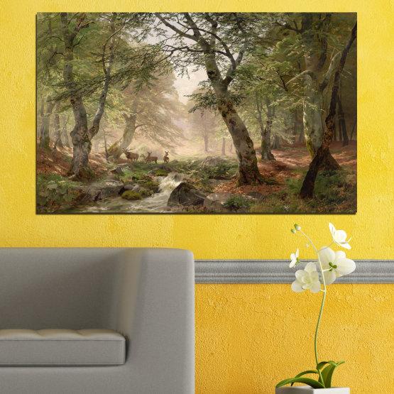 Декоративни панели и картини от канава - от 1 част №0788 » Зелен, Кафяв, Сив, Тъмно сив » Гора, Дърво, Река, Сърна, Листа Form #1