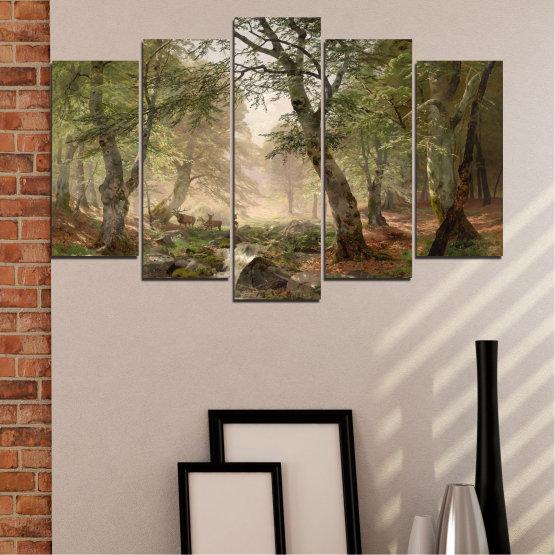 Декоративни панели и картини от канава - от 5 части №0788 » Зелен, Кафяв, Сив, Тъмно сив » Гора, Дърво, Река, Сърна, Листа Form #1
