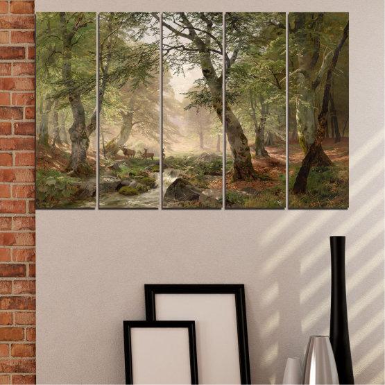 Декоративни панели и картини от канава - от 5 части №0788 » Зелен, Кафяв, Сив, Тъмно сив » Гора, Дърво, Река, Сърна, Листа Form #2