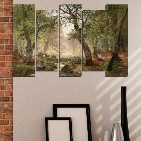 Декоративни панели и картини от канава - от 5 части №0788 » Зелен, Кафяв, Сив, Тъмно сив » Гора, Дърво, Река, Сърна, Листа Form #3