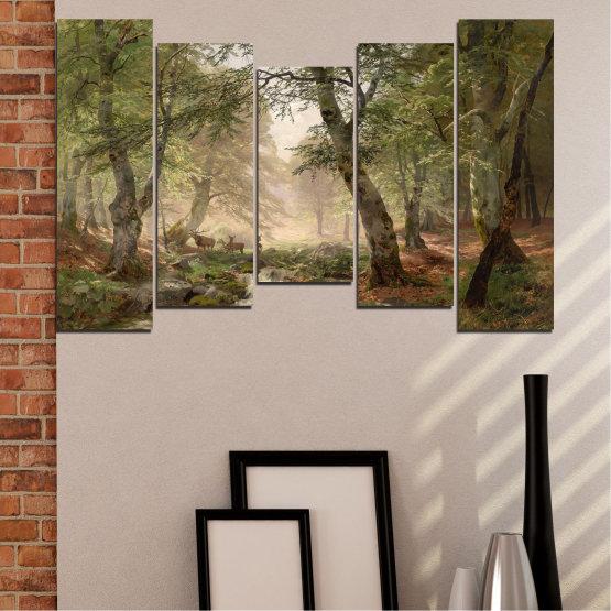 Декоративни панели и картини от канава - от 5 части №0788 » Зелен, Кафяв, Сив, Тъмно сив » Гора, Дърво, Река, Сърна, Листа Form #4