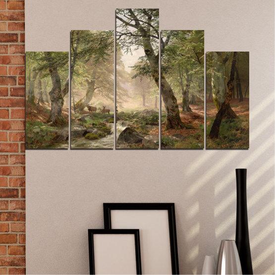 Декоративни панели и картини от канава - от 5 части №0788 » Зелен, Кафяв, Сив, Тъмно сив » Гора, Дърво, Река, Сърна, Листа Form #5