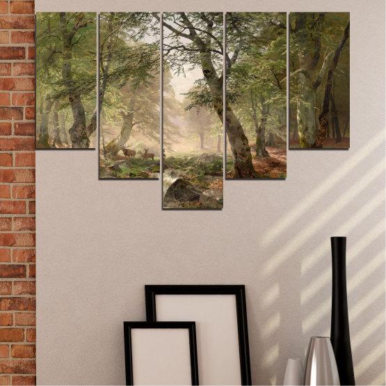 Декоративни панели и картини от канава - от 5 части №0788 » Зелен, Кафяв, Сив, Тъмно сив » Гора, Дърво, Река, Сърна, Листа Form #6