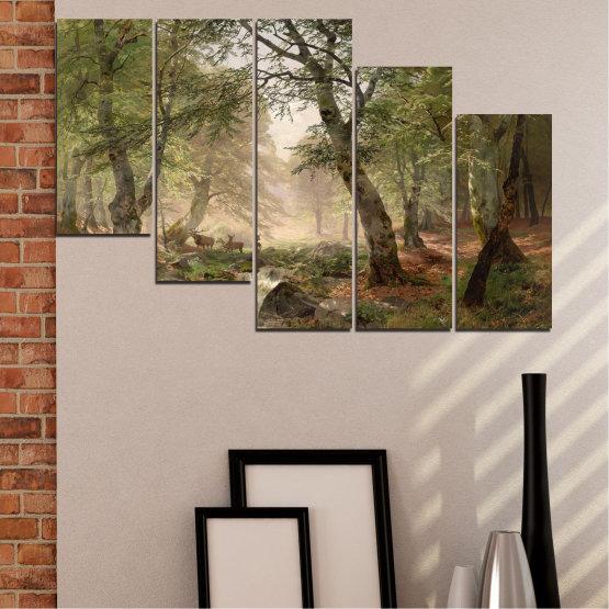 Декоративни панели и картини от канава - от 5 части №0788 » Зелен, Кафяв, Сив, Тъмно сив » Гора, Дърво, Река, Сърна, Листа Form #7