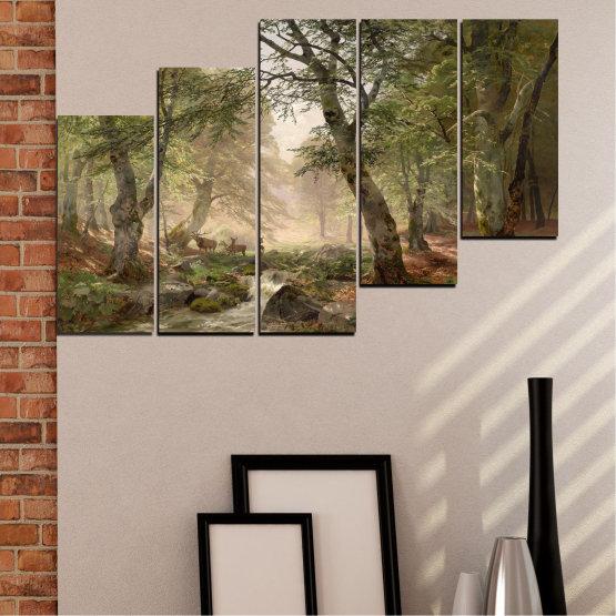 Декоративни панели и картини от канава - от 5 части №0788 » Зелен, Кафяв, Сив, Тъмно сив » Гора, Дърво, Река, Сърна, Листа Form #8