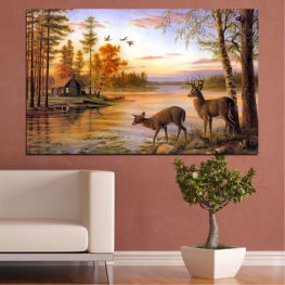 Landscape, Forest, Trees, River, Roe » Brown, Gray, Beige, Dark grey