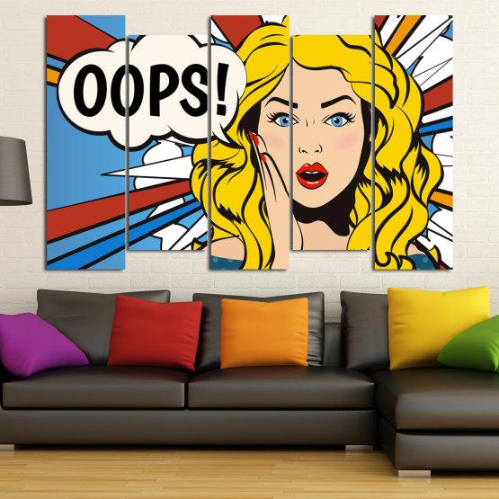 Декоративни панели и картини от канава - от 5 части №0790 » Червен, Тюркоаз, Жълт, Черен, Бял, Бежов » Изкуство, Графичен, Комикс, Дизайн Form #3