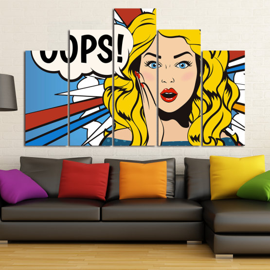 Декоративни панели и картини от канава - от 5 части №0790 » Червен, Тюркоаз, Жълт, Черен, Бял, Бежов » Изкуство, Графичен, Комикс, Дизайн Form #5