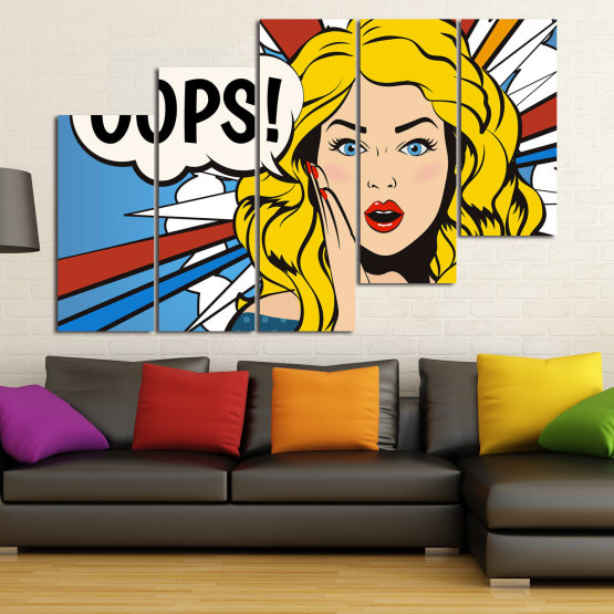 Декоративни панели и картини от канава - от 5 части №0790 » Червен, Тюркоаз, Жълт, Черен, Бял, Бежов » Изкуство, Графичен, Комикс, Дизайн Form #8