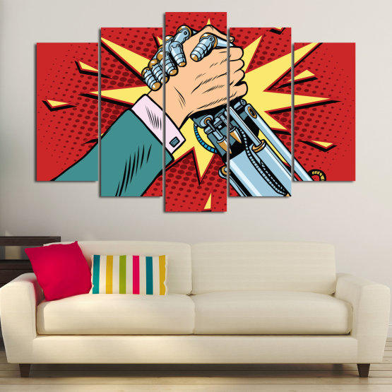 Canvas prints & wall decorative panels - 5 pieces №0794 » Red, Yellow, Black, Gray, Beige » Art, Graphic, Design, Comic book, Hand Form #1