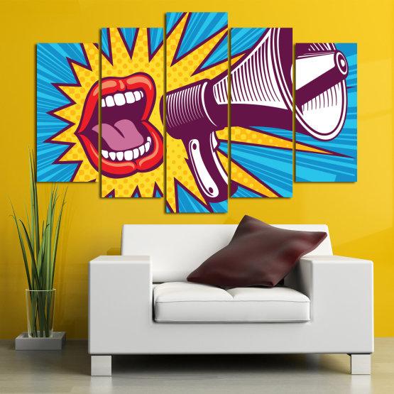 Декоративни панели и картини от канава - от 5 части №0795 » Червен, Син, Тюркоаз, Жълт, Бял, Тъмно сив » Изкуство, Модерен, Графичен, Комикс, Дизайн,  Form #1